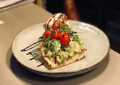 Smashed Avo with Goats Cheese and Vine Ripe Tomatoes