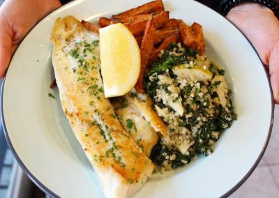 Grilled Perch with Chips and Salad